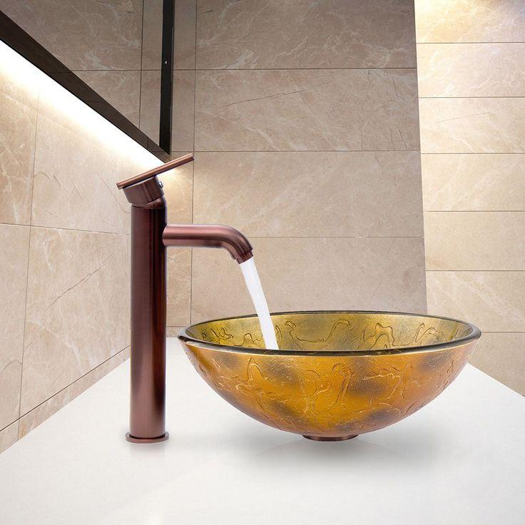 Vigo Copper Shapes Glass Vessel Sink and Seville Oil Rubbed Bronze Faucet Set