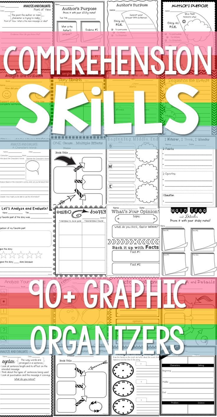 90+ graphic organizers and no-prep activities to practice 9 crucial comprehension skills. These resources are flexible and adaptable for fiction and non-fiction. This is a product you will continue to use year after year--all year long!! Understanding characters, sequencing events, main idea, story structure and more! Perfect for 1st-4th