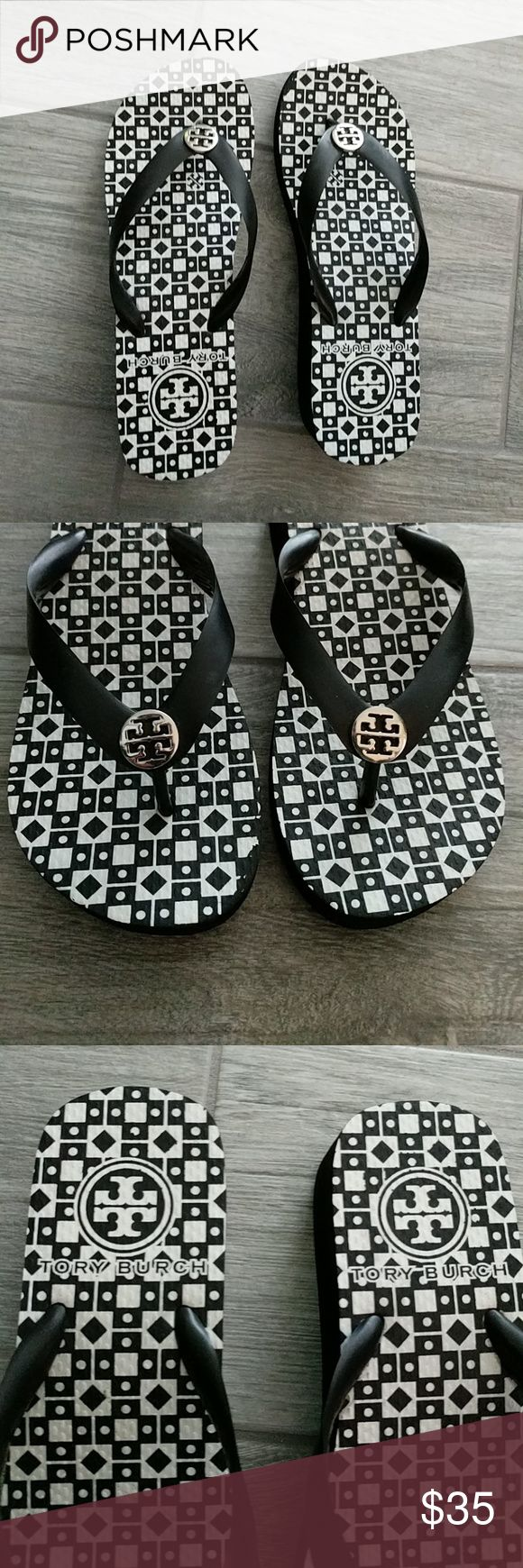 Tory Burch black wedge flip flop sandals 7.5 Tory Burch black wedge flip flop sandals no size marked but fit like a 7.5, EUC. Tory Burch Shoes Sandals
