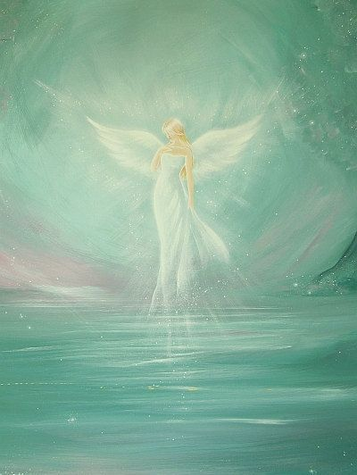 """""""ready for magic"""", modern angel painting, artwork,ideal also for picture frame, gift,spiritual,magic,mystic"""
