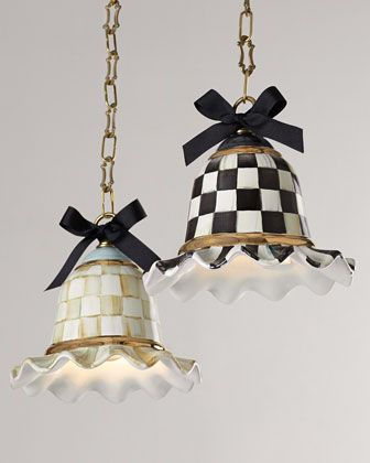 MacKenzie-Childs Parchment Check & Courtly Check Pendant Lamps - Neiman Marcus