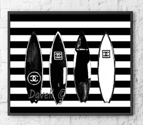 Chanel Surfboard  Poster Art Print , Chanel surfboards on stripes Chanel Fashion Illustration, Poster Wall decor Home Decor