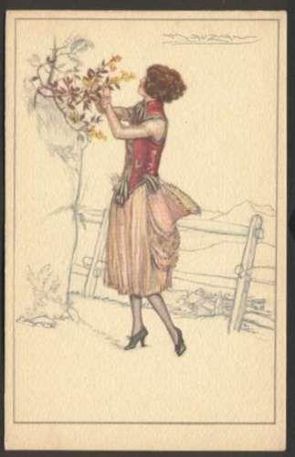 Art Mauzan Elegant Woman w Flowers Postcard # 544-6 L@@K