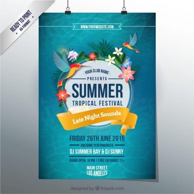 Летние тропических фестиваль плакат Бесплатные векторы