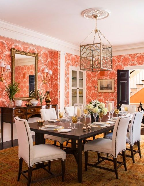 Coral Oushak Rug in the Dining Room   Connecticut House by Christina Murphy. 618 best Dining Rooms Rugs images on Pinterest