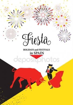 Download - Spain fiestas or festivals abstract poster. Spanish San Fermin Festivals, wallpaper. The running of the bulls is the main attraction in this famous celebration, Pamplona fiesta. Vector illustration. Fireworks — Stock Illustration #159328228