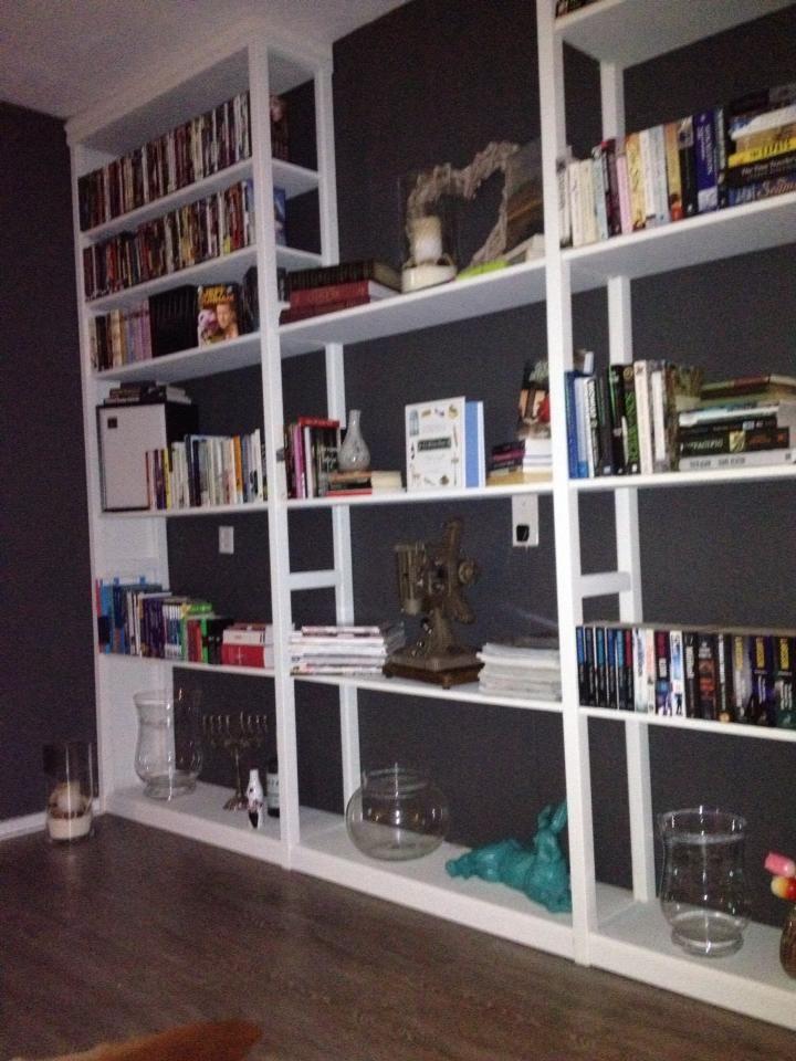 """Omdat Andrea wat ruimte nodig hadden voor al onze boeken en leuke spullen, hebben wij deze Lundia kasten via Marktplaats gevonden die nog in hele goede conditie waren. Deze zijn 'ingebouwd' in onze woonkamer en met Annie Sloan """"Old White"""" geverfd."""