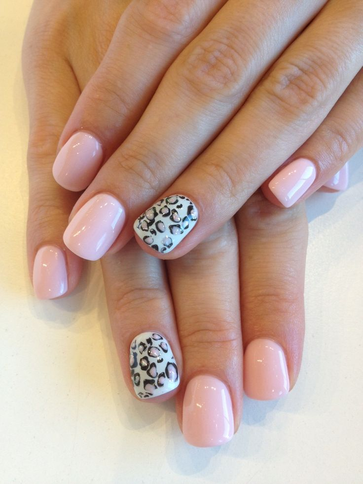 Bio Sculpture Gel Colour 78 Baby Doll With Cheetah Print Made With Bundle Monster Stamping