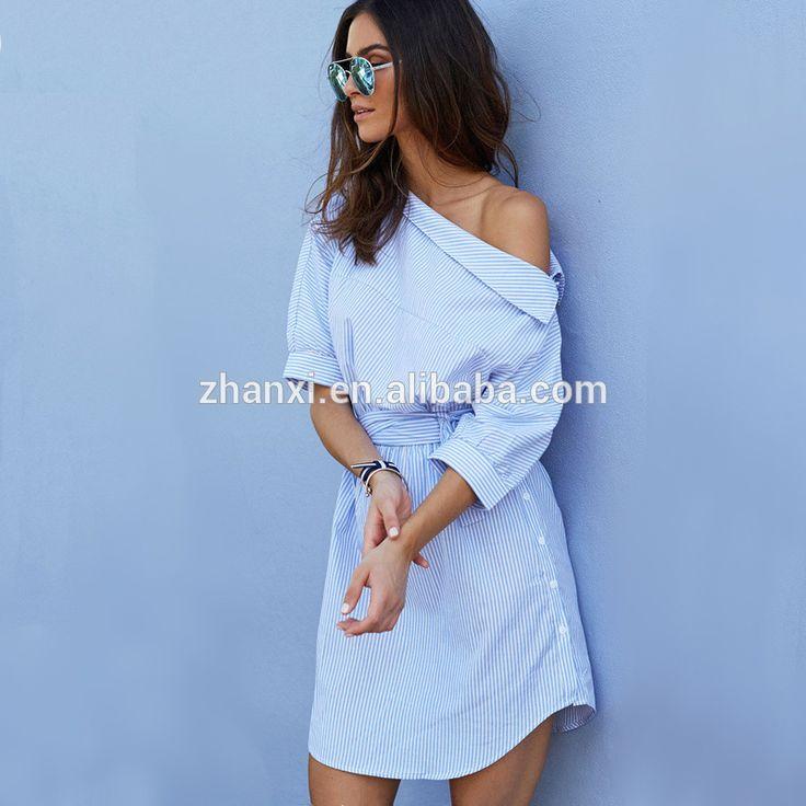 Nueva moda casual azul de rayas costura vestido de las mujeres del verano 2016-Vestidos casual-Identificación del producto:60450522685-spanish.alibaba.com