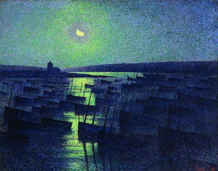«Camaret, clair de lune et flottille de pêche» de Maximilien Luce (1894) (Saint Louis Art Museum.)