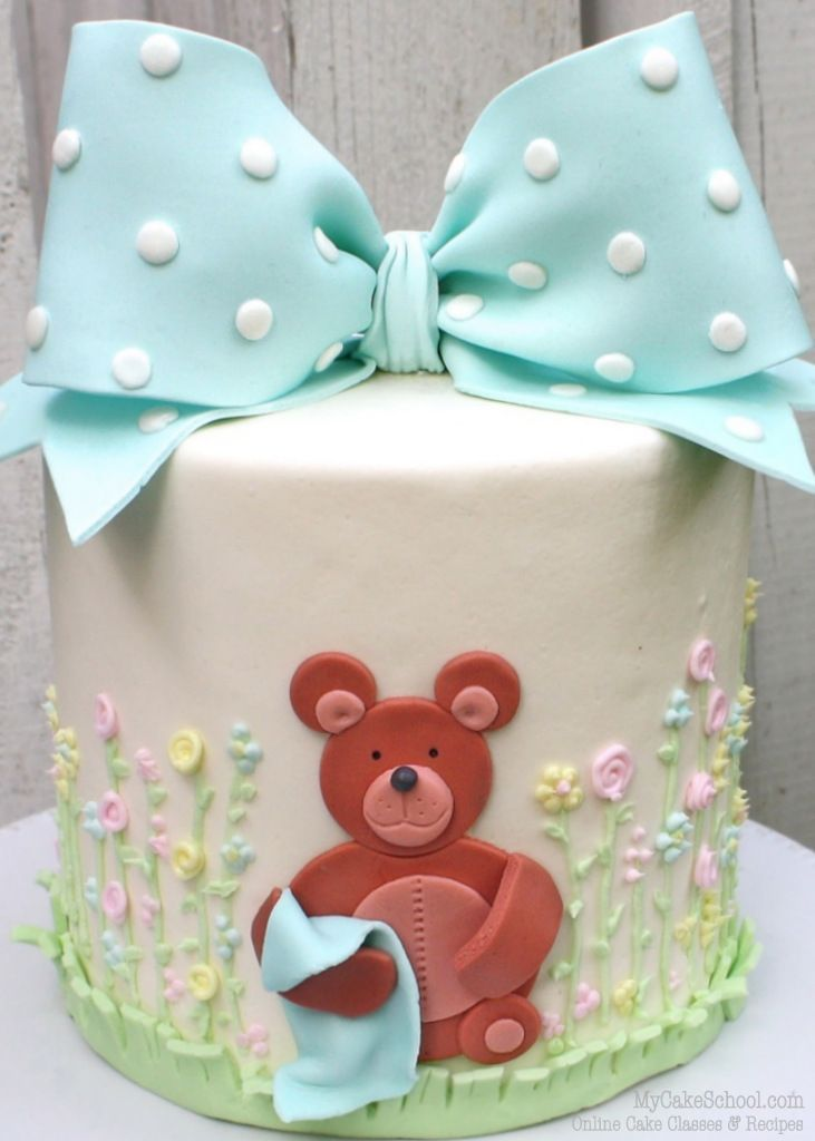 How to Make a Classic Bow & Teddy Bear Cake- Video Tutorial | My Cake School #babyshower #babyshowercake #teddybearcake #mycakeschool
