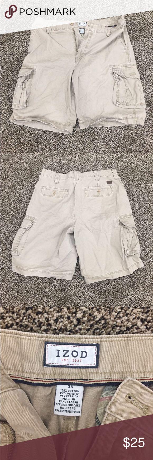Izod Kakhi Men's Dress Shorts 100% Cotton  Men's Dress Shorts  Khaki shorts  36  Perfect Condition  Worn Once Izod Shorts Cargo