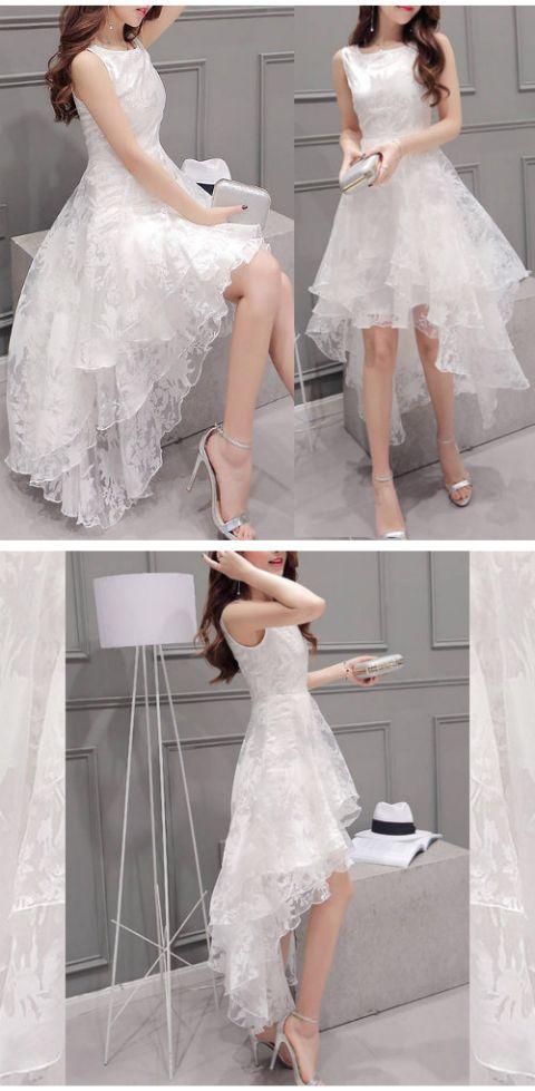 レディース ファッション ワンピース ドレス トレンド セレブ。《即納》ウェディングドレス風 オーガンザ レース フィッシュテイル ノースリーブ ドレス 透け感 アシンメトリー ワンピース 白 ホワイト ボタニカル 結婚式 ブライダル パーティー 二次会 ホテル シースルー お姫様 プリンセス 大人女子 大人かわいい  人気  10P03Sep16