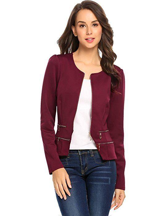 4fd2077d51c Women s Casual Collarless Cardigan Office Blazer Zipper Work Jacket ...