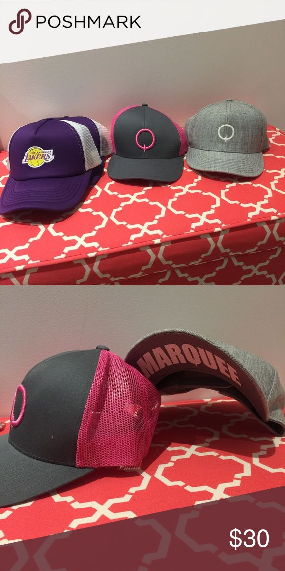 Marquee and Lakers Caps all 4 for $30, or marquee 10 each and Lakers 5 each. Never worn, Marquee caps originally $30 each. Accessories Hats