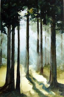 watercolour trees and light Gill Fryers