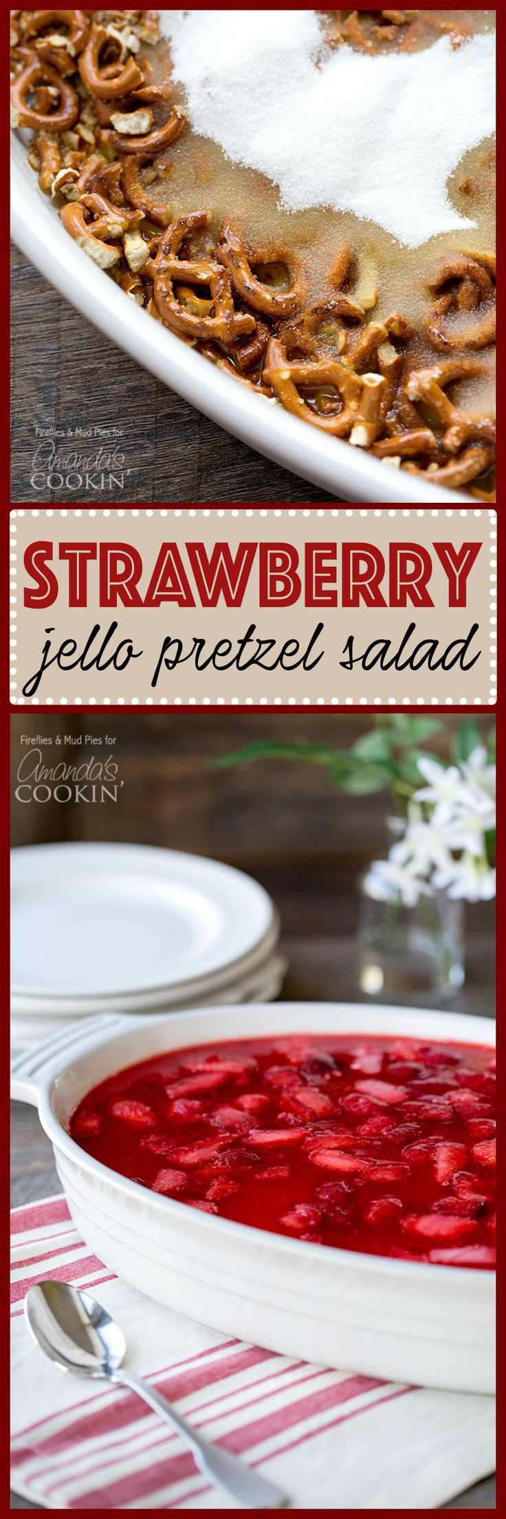 Strawberry Jello Pretzel Salad is perfect for potlucks, holidays and parties! You'll need cream cheese, pretzels, gelatin, butter, sugar and whipped topping
