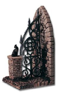 Cemetery Gate Book End Black Cat Old Cemetery Book End High Quality