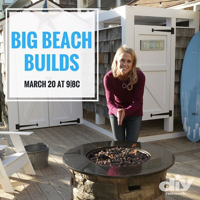 SO excited for Marnie Oursler's show, BIG BEACH BUILDS!  LOVE her style and incredible design sense, plus she's cute and personable!  Watch it!  -   I'm so excited to finally announce the premiere of my brand new @diynetwork show #BigBeachBuilds on March 20th and 9/8c! Two episodes will be airing back to back so be sure to catch them both and let me know what you think! Here we go! ‍♀️