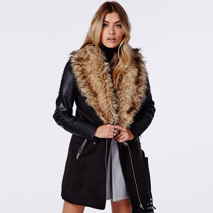 Zipper Insert Trench With Faux Fur Collar Women Coat LAVELIQ