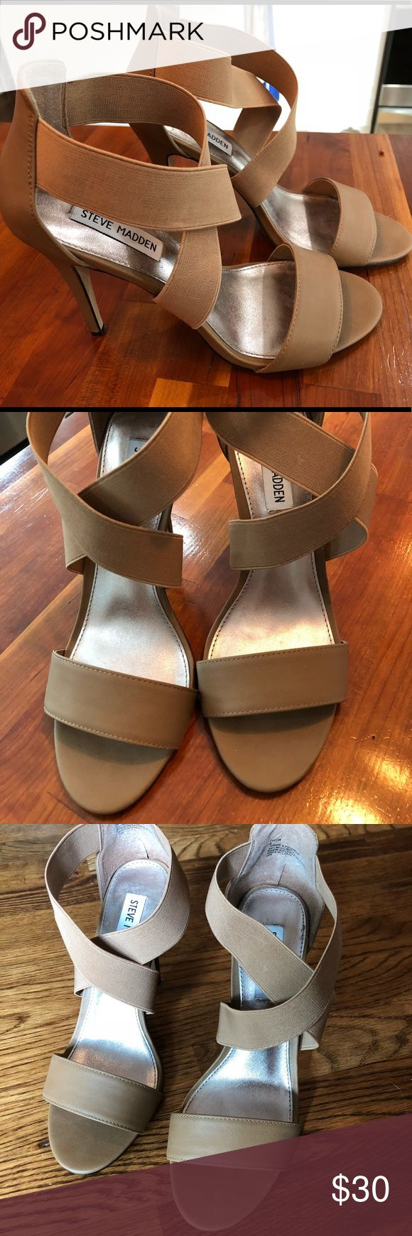 Steve Madden nude strappy heels Nude strappy high heeled sandals. Front strap is leather (faux) and top straps elastic. Never worn outside of the house. Excellent condition. Steve Madden Shoes Heels