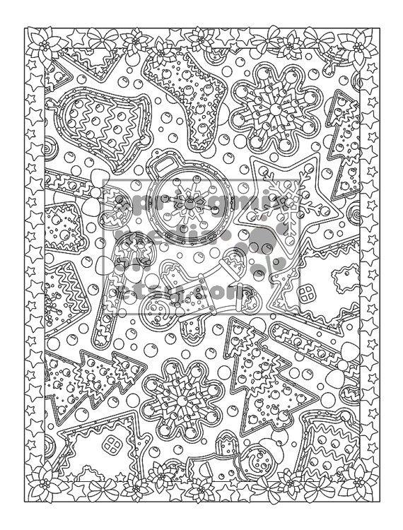 printable xmas coloring page holiday xmas cookies christmas treats holiday coloring book adult - Holiday Coloring Book