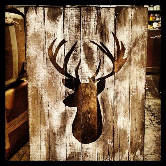 Attach real antlers to painted deer head! Deer Head Silhouette on Distressed Pallet Wood by TiPsOnDeSiGn #pallet #allthingspallets #deerdecor