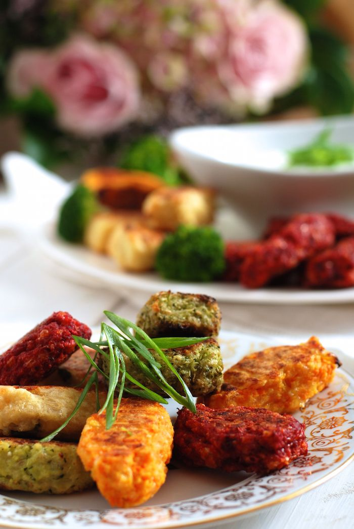 zeleninové placičky nebo špalíčky s dipem