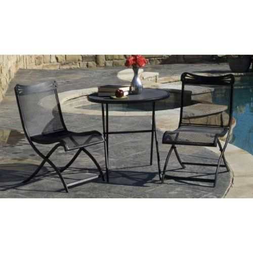 Woodard Tribeca 3 - Pc. Folding Bistro Set by WOODARD. $159.99. Woodard Tribeca 3 - Piece Folding Bistro Set... relax and sip a cappuccino at this cafe - style lounge spot! Accent your patio with this gorgeous Tribeca 3-Piece Folding Bistro Set! Made to resemble the look of sidewalk cafs in the heart of New York... smooth curves on each chair create a comfy sitting position, and the foldable designs sets up and tears down in a snap. Made with solid steel, and treated fo...