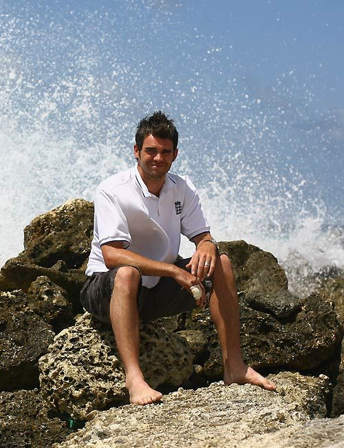 CricInfo Photos - James Anderson sits amongst the rocks and waves outside the Hilton hotel, Barbados, April 12, 2007.