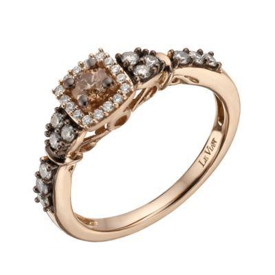 Le Vian 14ct strawberry gold 51 point chocolate diamond ring- Ernest Jones