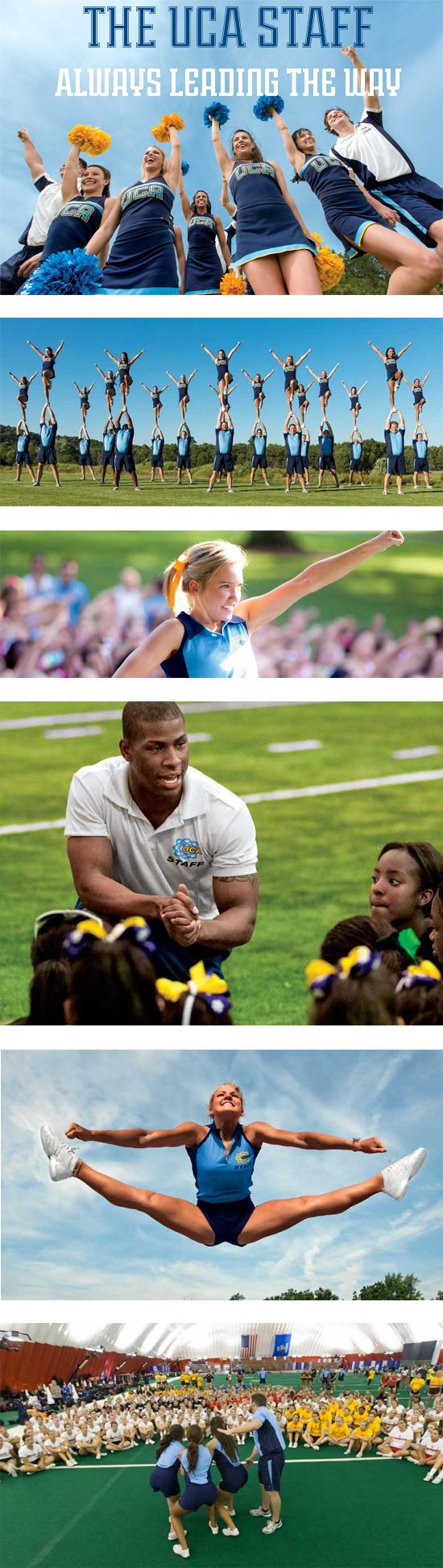 The UCA Staff | Your cheerleading squad will learn from the best at UCA Summer Camp! The UCA Staff are hand-picked from the nation's top collegiate programs, AACCA safety certified and level 2 background checked. #cheerleading