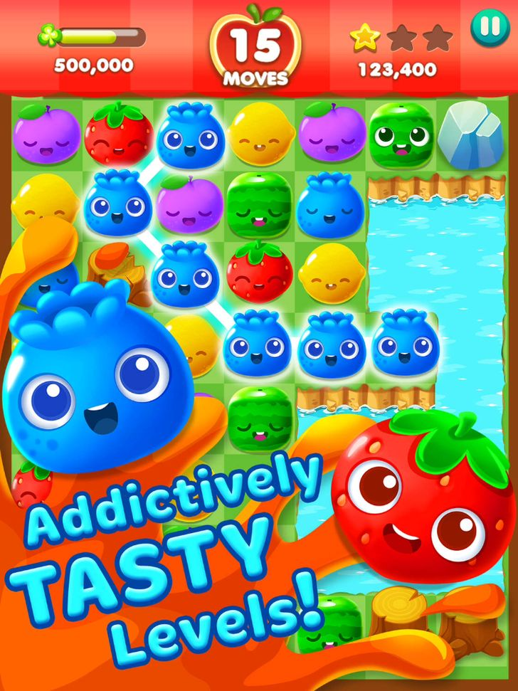 Fruit Splash Mania App by TeamLava. Elimination Puzzle Game Apps.