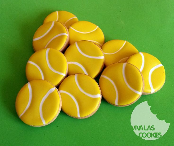 Tennis ball cookies, Galletas pelota de tenis, by www.vivalascookies.com