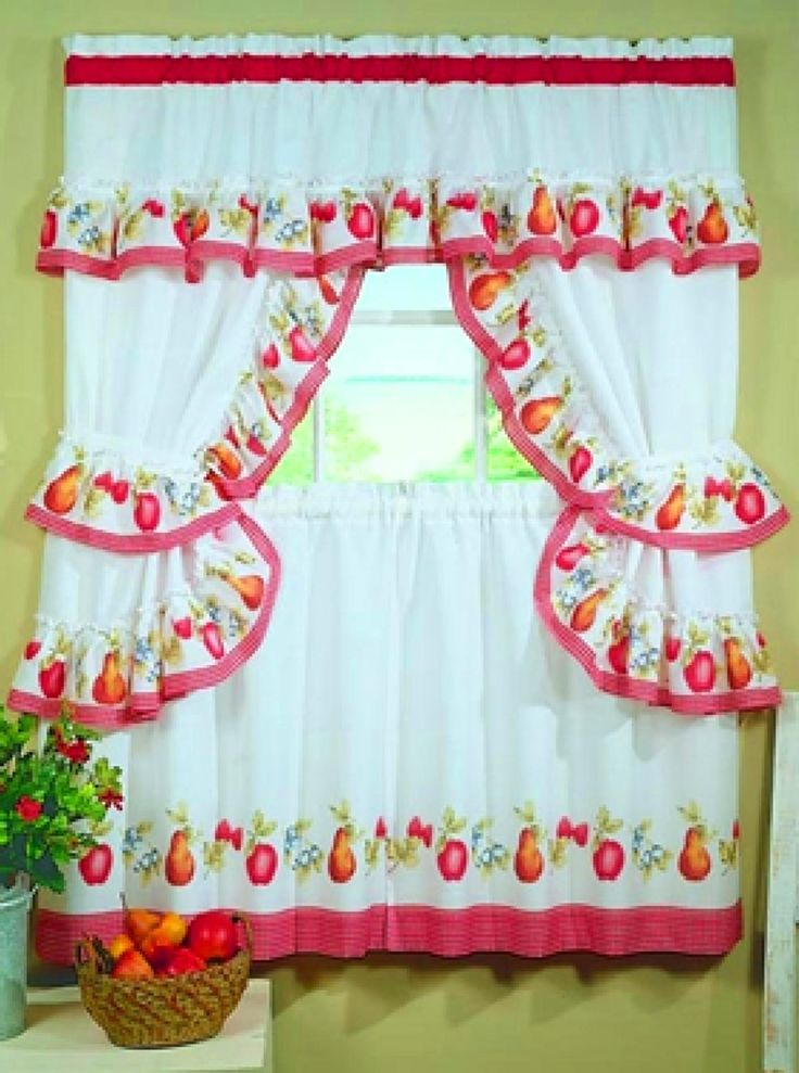 Fruitopia Fruit Print Kitchen Curtain Red Gingham Check Kitchen Curtain Cosas Que Me