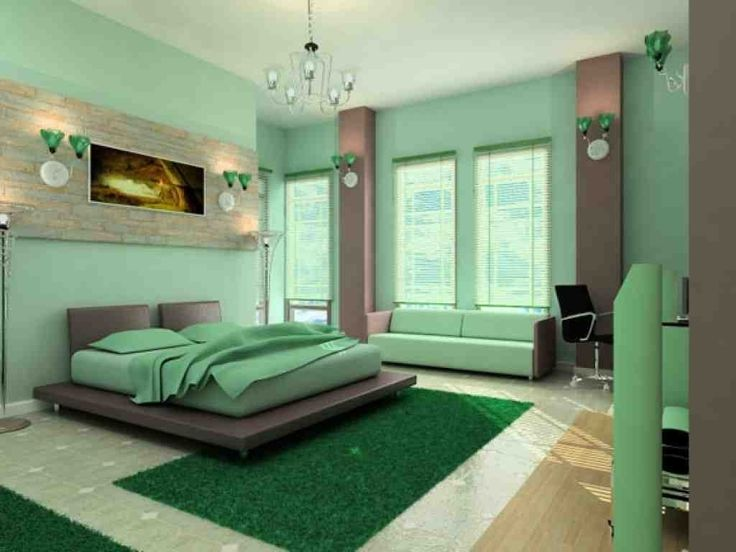 interior design ideas for bedroom with green bedding set placed on the green rug combined with green sofa in the green wall room contemporary master bedroom