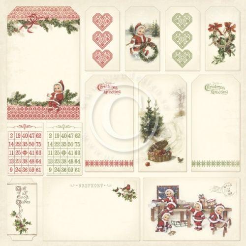 """PION DESIGN - CHRISTMAS IN NORWAY PD6412F - TAGS TOSIDIG MØNSTERARK i serien """"CHRISTMAS IN NORWAY"""" en kolleksjon fra PION DESIGN.Arket måler ca 30,5cm x 30,5cm. Christmas in Norway - a collection in a Christmas theme - Paper size 12x12"""""""