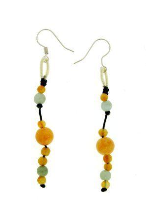 Honey Jade Beaded Dangle Handmade Jade Earrings