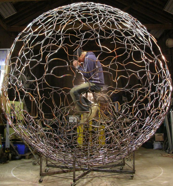 Cell by matthew sanderson, science sculpture, super cell. copper and steel