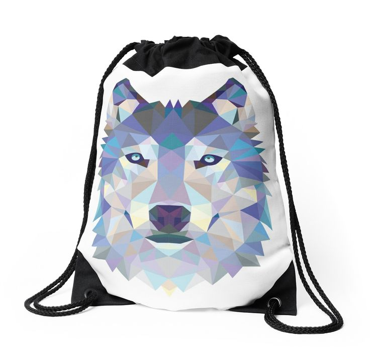 Game Of Thrones Polygonal Dire Wolf | RedBubble Black and White Drawstring Bag Available @redbubble