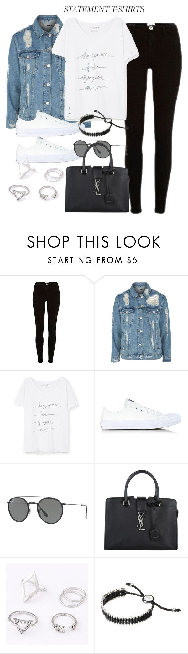 """Untitled #12209"" by vany-alvarado ❤ liked on Polyvore featuring River Island, Topshop, Violeta by Mango, Converse, Ray-Ban, Yves Saint Laurent and Links of London"