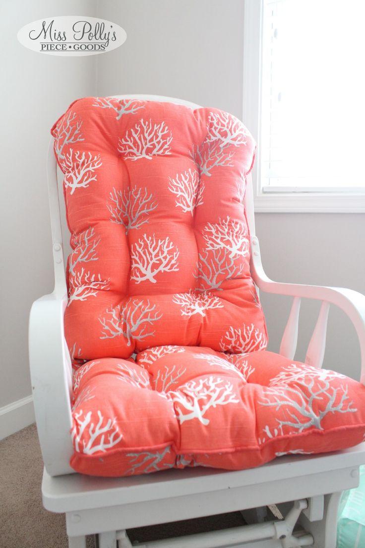 Nautical cushions for rockingchair/glider custom made by MissPollysPieceGoods https://www.etsy.com/listing/178107141/custom-chair-cushions-glider-cushions #nautical #coral #glider #cushion #nursery #misspolly