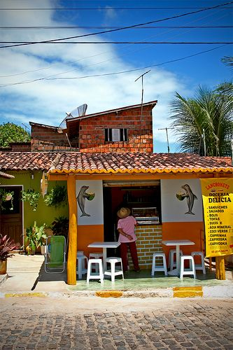 Food stand advertising coconut water, Praia da Pipa, Natal, Rio Grande do Norte, Brazil
