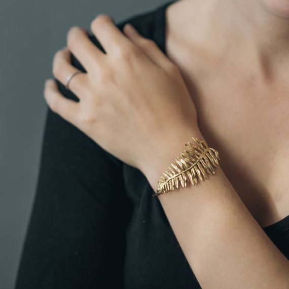 Sword Fern Bracelet Botanical Cuff in Brass by CollectedEdition