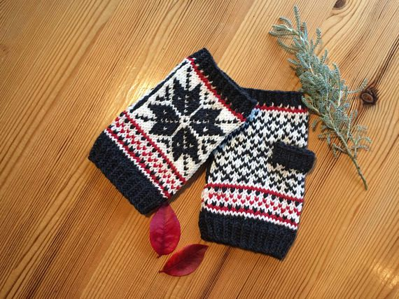 Hand Knitted Fair Isle Fingerless Mittens in soft Merino Wool