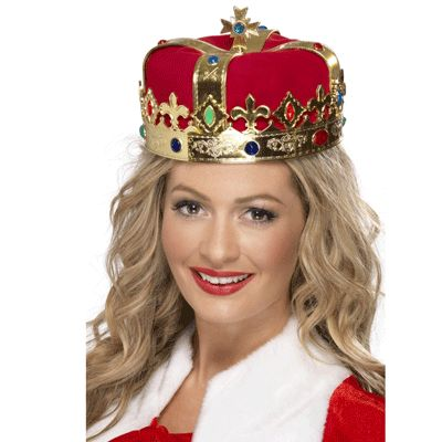 Koninklijke gouden kroon voor volwassenen. Deze koninklijke gouden Kroon heeft een basis van rode stof met hieromheen de goude kroon met gekleurde steentjes. De doorsnede is 20 cm. De Hoogte is 12 cm.
