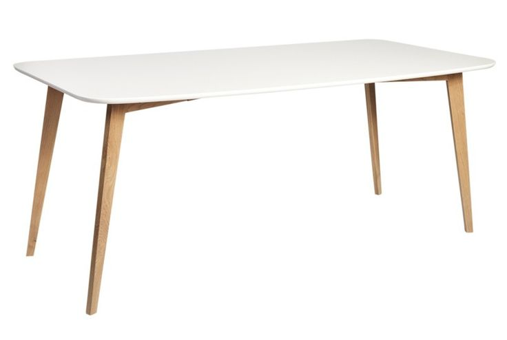 Link Spisebord 3.000 kr - Langt spisebord i nordisk look med hvidlakeret bordplade og ben i matlakeret egetræ. Anvend spisebordet i den moderne spisestue og kombiner med Link spisebordsstole og fuldfør den enkle nordiske stil.