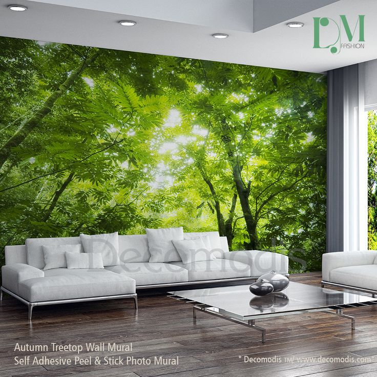 Attrayant Green Forest Wall Mural, Photo Mural Sunbeam Through Green Forest Treetop  Self Adhesive Peel U0026 Stick, Forest Wall Mural