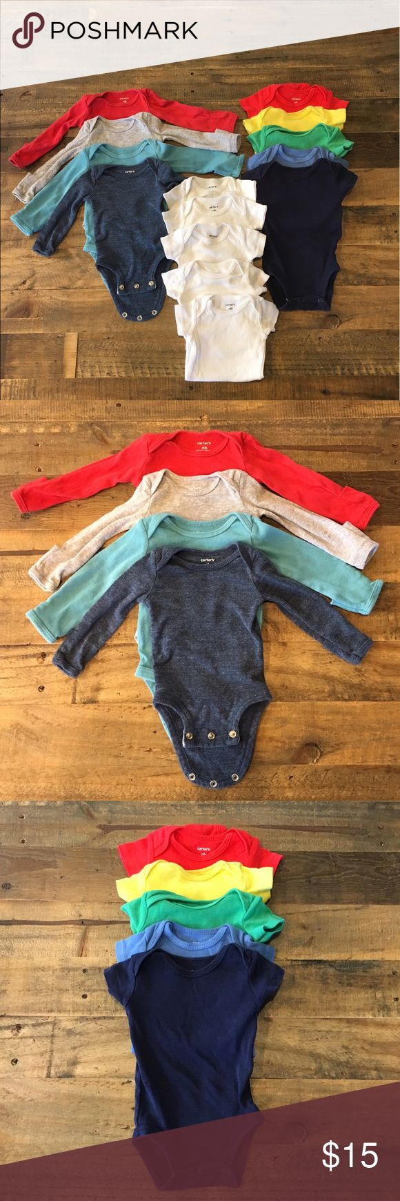 Lot of Newborn solid color onesies. Variety of solid color onesies. Four colored long sleeve, five colored short sleeve, and five white short sleeve. The long sleeve ones have an option roll over mitten feature to keep the baby from scratching their face. Great used condition. No stains or snags. Carter's Other