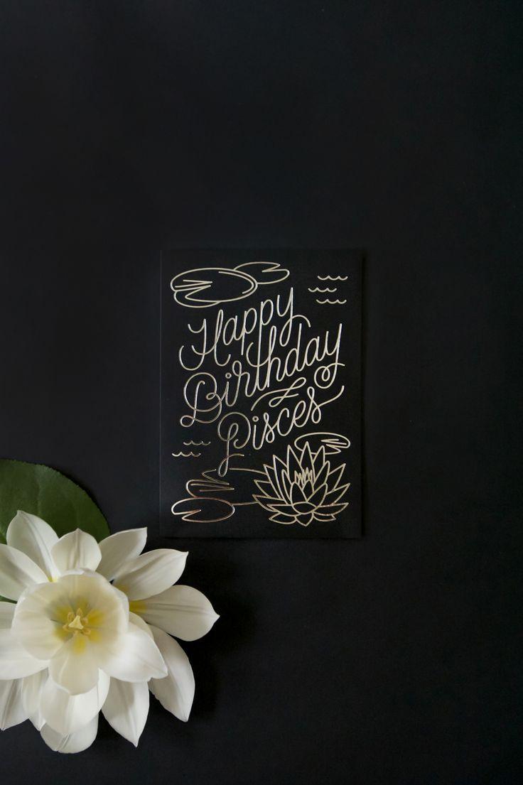 Birthday Card Happy Birthday Pisces Zodiac Flora